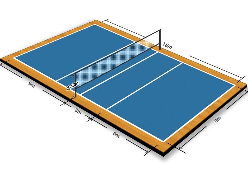 Kích thước sân bóng chuyền thi đấu